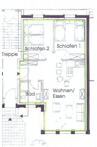 Grundriss Wohnung Erdgeschoss ( hofseitig barrierefrei erreichbar )