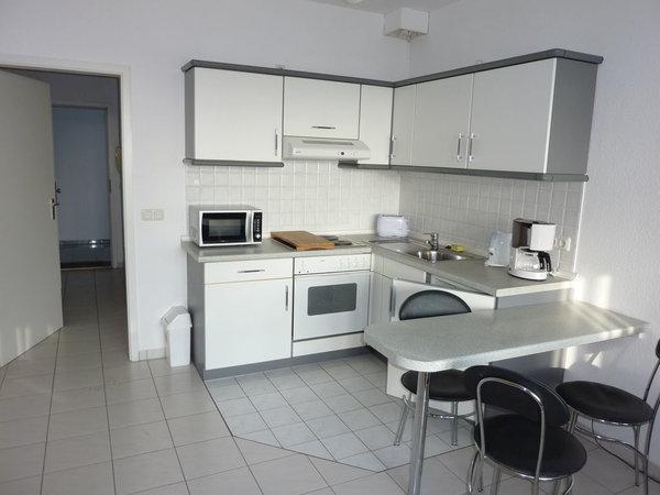Die offene Küche im Wohn-/Schlafbereich