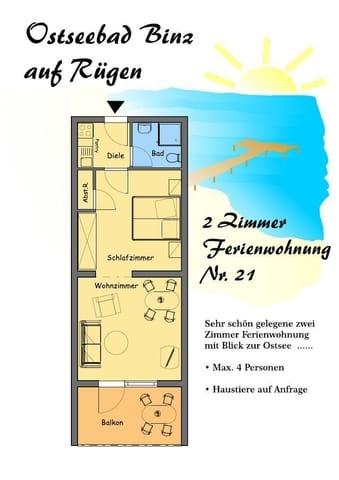 Grundriss Wohnung Nr. 21 (spiegelverkehrt zu Wohnung Nr. 22, auch die Einrichtung ist lediglich spiegelverkehrt)