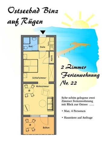Grundriss Wohnung Nr. 22 (spiegelverkehrt zu Wohnung Nr. 21, auch die Einrichtung ist lediglich spiegelverkehrt)