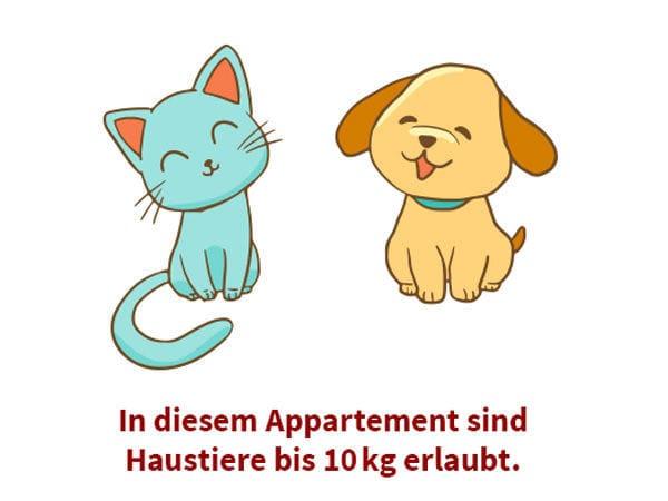Haustiere bis 10 kg gestattet