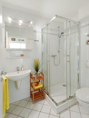Das Appartement verfügt über ein Bad mit Dusche, Waschbecken, Toillette, Spiegelschrank und Handtuchtrockner.
