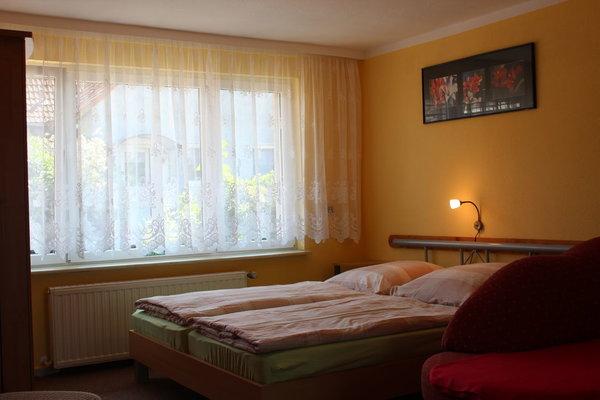 kombinierter Wohn- und Schlafraum mit Doppelbett