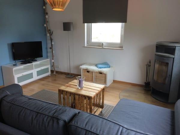 Wohnzimmer mit Schlafcouch, TV und Kamin