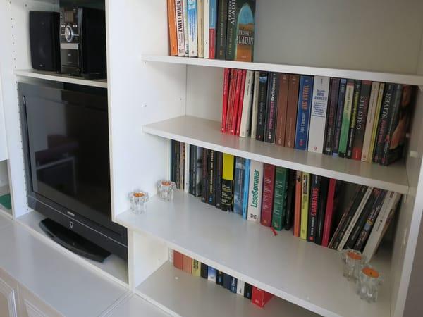 Flachbild-TV, Musikanlage, große Auswahl an Büchern
