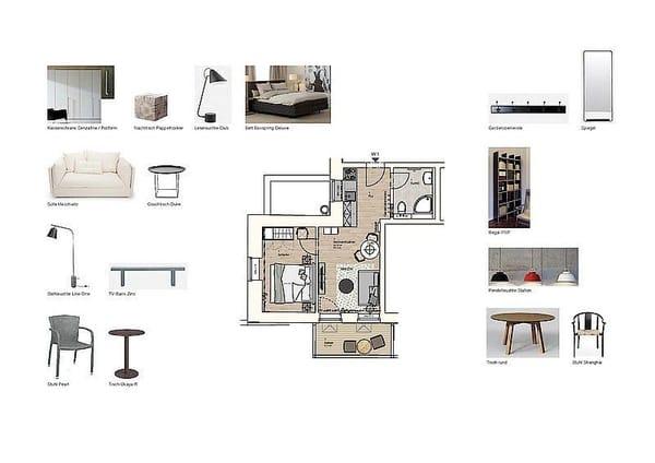 Grundriss und Möblierung Wohnung 01
