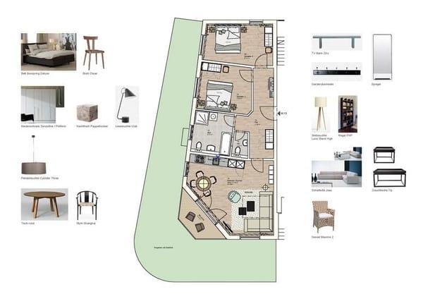 Grundriss und Möblierung Wohnung 13
