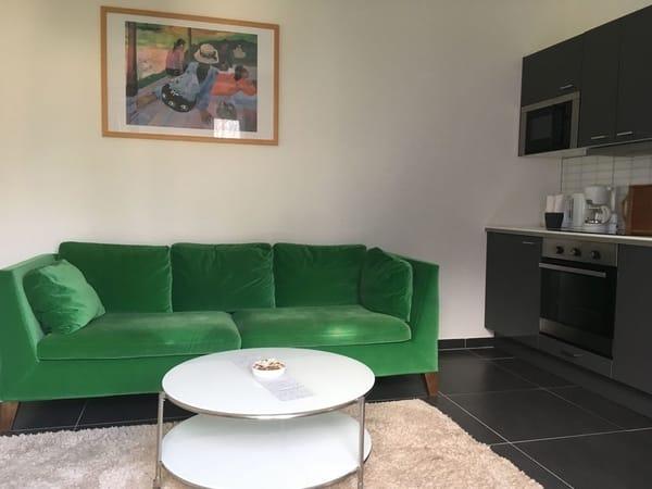 Blick in den Wohnraum mit Küchenzeile