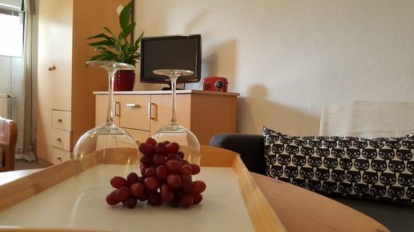 Wohn-Schlafbereich mit kleinem Sofa und TV