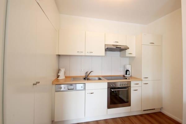 moderne Küchenzeile mit Geschirrspüler, Backofen, Cerankochfeld sowie Kühlschrank
