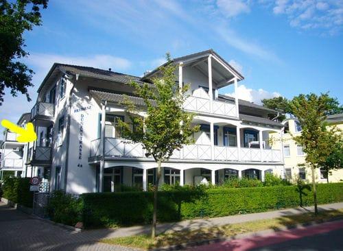 Herzlich willkommen in der Residenz Dünenstraße! Der gelbe Pfeil weist auf Ihren Balkon.