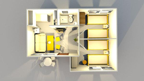 3D - Grundriss / Draufsicht vom Ferienbungalow in Alt Reddevitz auf Rügen