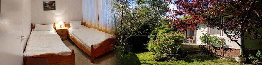 """Eindruck vom Ferienbungalow """"Gestrandet"""". Der grüne Garten und die Terrasse lädt zum Entspannen ein."""
