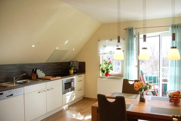 Küche mit Kochfeld, Geschirrspüler, Mikrowelle usw.