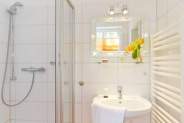 Das Badezimmer ist mit Dusche, WC, Handtuchtrockner ...