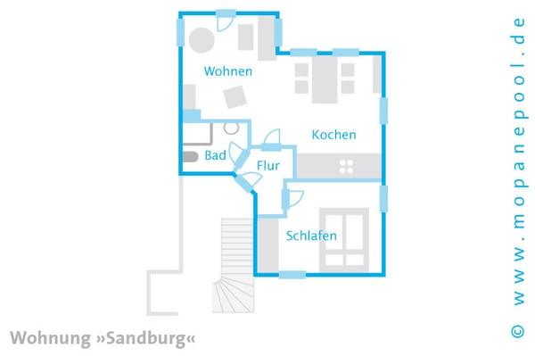 - Grundriss des Appartements - Ein kostenfreier WLAN Anschluss komplettiert den Urlaubskomfort.
