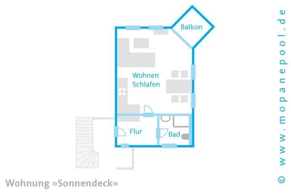 - Grundriss - Ein kostenfreier WLAN Anschluss komplettiert den Urlaubskomfort.  Am Haus steht Ihnen ein kostenfreier PKW Stellplatz zur Verfügung.