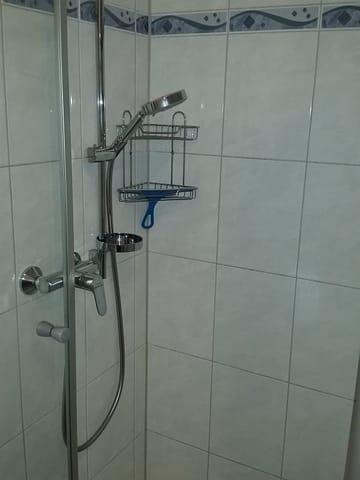 Dusche im Bad mit WC