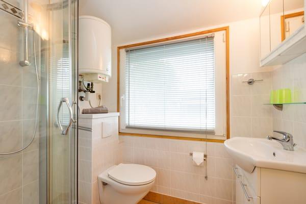 Das Bad bietet Ihnen Dusche und WC.
