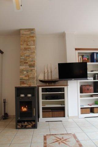 Kamin inkl. Holz und gegenüber Lederschlafcouch mit Matratze 1,8x2m