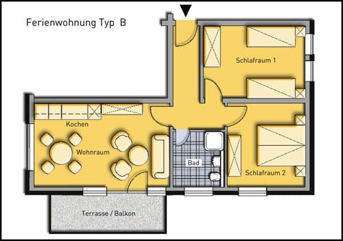 Grundriss Wohnung B