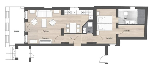 Für alle die sich noch besser zurechtfinden möchten, ein Grundriss des Appartements.