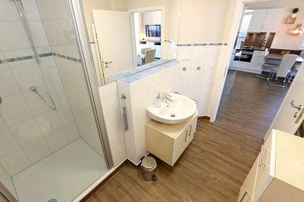 Badezimmer mit großer Dusche, Handtuchwärmer, Kosmetikspiegel und -tücher