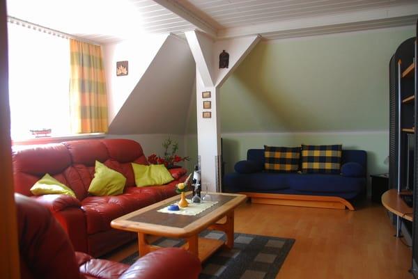 Wohnzimmer mit blauem Schlafsofa, 1,40 m / Federkern!