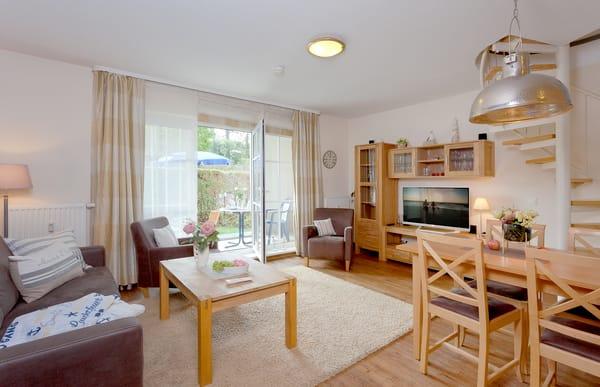 Das Appartement ist für 4 Erwachsene und 1 Kleinkind ausgelegt.