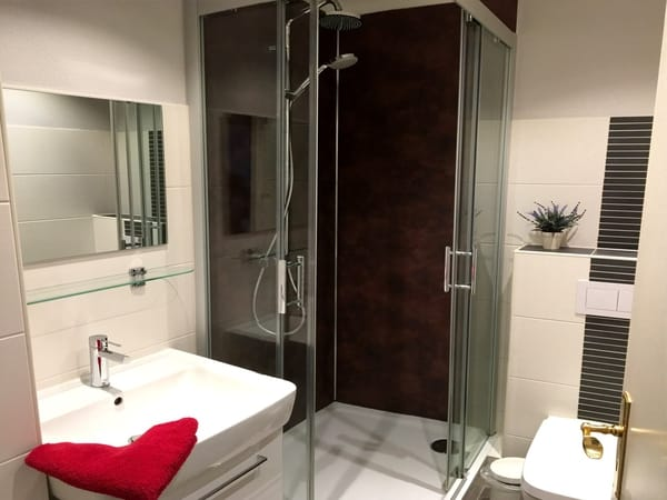 Blick in das moderne Bad