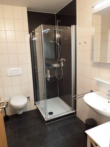 renoviertes Duschbad mit tiefem Einstieg in die Dusch und Fenster