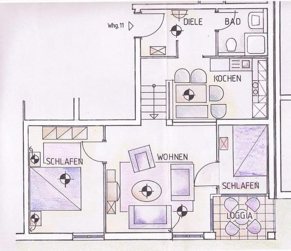 Grundriss (2 SZ, Küche, Bad, Balkon)