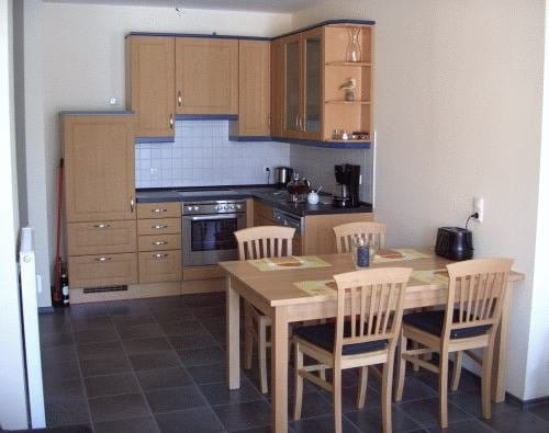 Die offene Küche mit Ceranfeld und Geschirrspüler