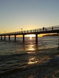 Sonnenaufgang an der Binzer Seebrücke
