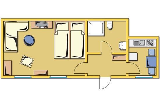Grundriss der Ferienwohnung Deck 2