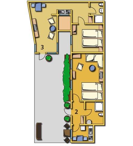 Grundriss der beiden Ferienwohnungen Deck 2 und Deck 3