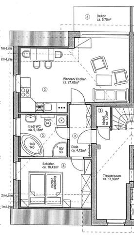 Architektenplan. Die aktuelle Möblierung weicht etwas ab.