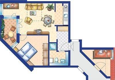 Grundriss mit gegenüberliegenden seperaten Schlafzimmer mit Doppelstockbett