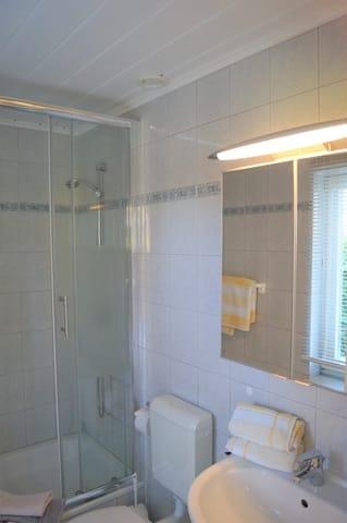 Dusche, WC, Waschtisch, Spiegelschrank
