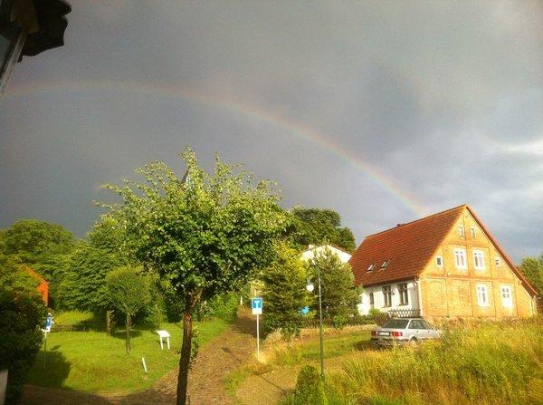 Blick von unserem Grundstück, ein wunderschöner Regenbogen