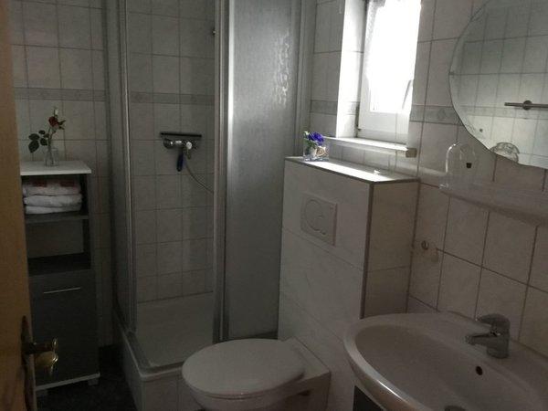 Bad mit einer Dusche und WC
