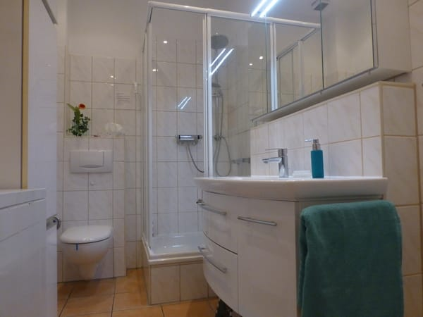 Modernes Duschbad mit WC Waschtisch, Spiegelschrank, Waschmaschine