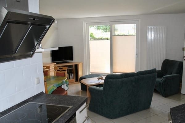 Blick von der Küchenzeile in das Wohnzimmer mit Terassentür