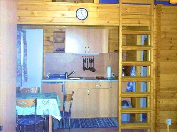 Küchenzeile mit Kochfeld, Kühlschrank und Kleingeräte
