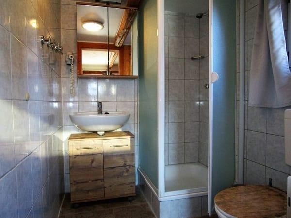 Duschbad und WC in edlem Holzdesign