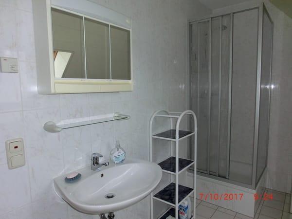 und Waschbecken mit Spiegelschrank