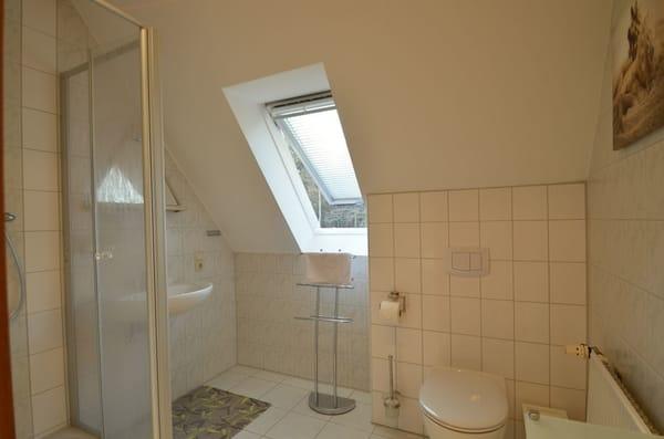 Bad mit Dusche , Handtuchständer, Föhn und Sonnenschutzrollo am Fenster.  -2017 kommplett Sanierung Neu.