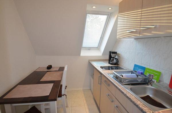 Liebevoll eingerichtete Küche für 2 - 3 Personen mit allem was mann so braucht um auch im Urlaub gemütlich zu essen