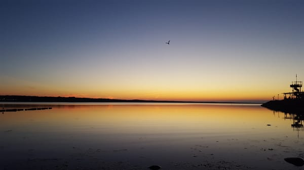 Sonnenuntergang am Glower Hafen