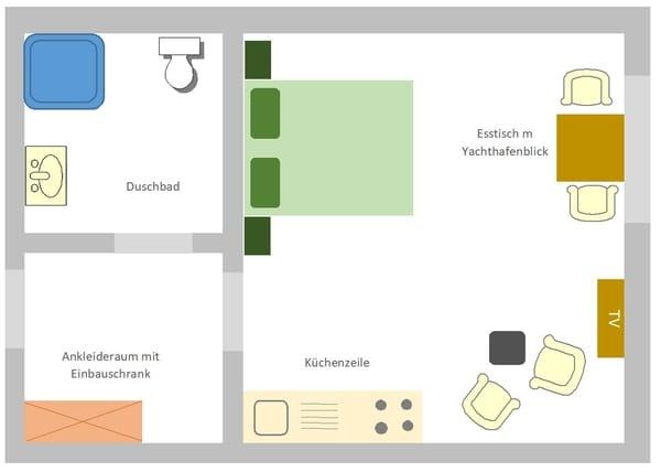 Grundriss des Appartements mit Blick auf den Yachthafen